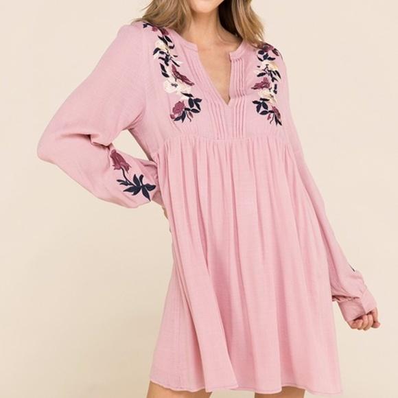 Entrance Dresses & Skirts - Embroidered Blush Pink Dress Flowy